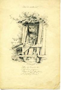 """""""Bist du wieder da?"""" - Bleistiftzeichnung Köglers aus dem Jahr 1860."""